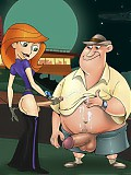 Kim Possible wanks her shemale cock together with her lovers - both male and shemale